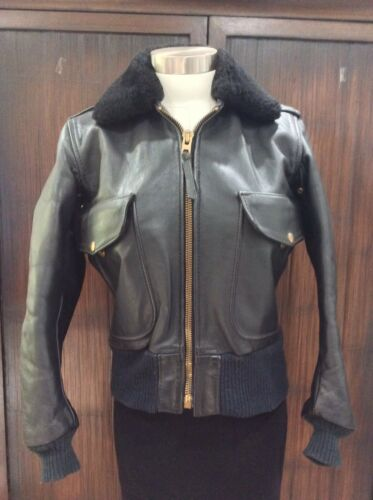 LANGLITZ LEATHERS VTG Black Goat Hide Flight Jacke