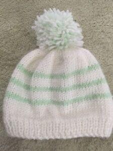 b365fbeb976 Handmade Baby Knit Winter Hat Pom Pom White Light Green Stripes 0-3 ...
