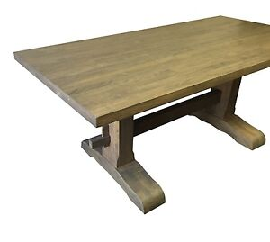 Grey Trestle Farmhouse Table (Rustic Harvest Farmhouse Kitchen Dinning Table)