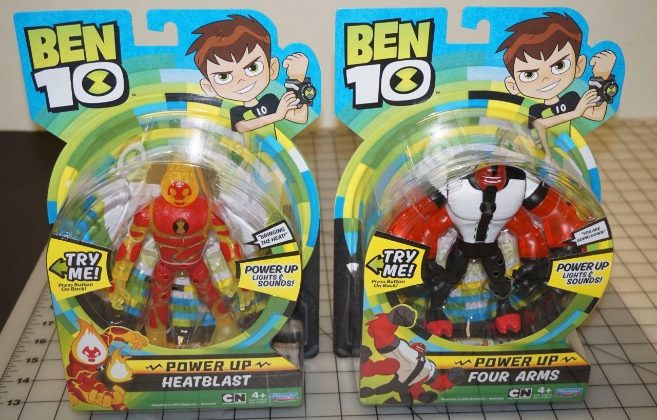 Ben 10 Power UP Deluxe FOUR ARMS & HEATBLAST 6  Action Figure Playmate LOT OF 2
