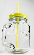 Volvic, Eistee, Icetee, Jar Glas, Eisteekrug, Eisteeglas, gelbe Ausführung  Halm