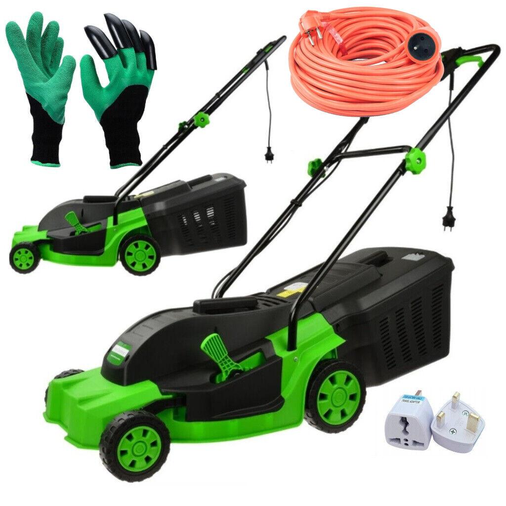 1600W Electric Rotary Lawn Mower Garden Grass Cutter 25L + Accessories