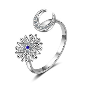 Women-Fashion-925-Sterling-Silver-Zircon-Moon-Star-Band-Ring-Size-Q-Adjustable
