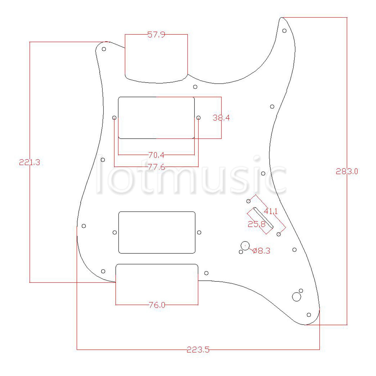 electric guitar loaded prewired hh pickguard scratch plate