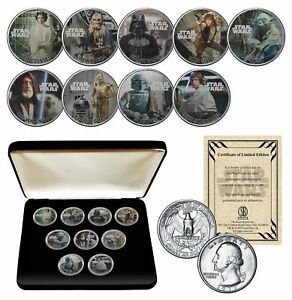 STAR-WARS-Genuine-1977-Washington-Quarter-9-Coin-Set-w-BOX-OFFICIALLY-LICENSED