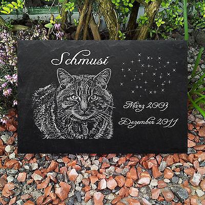 TIERGRABSTEIN Grabstein Gedenkstein Katzen Katze-009 ► Fotogravur ◄ 30 x 20 cm