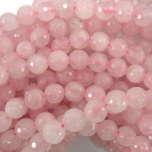Faceted-Pink-Rose-Quartz-Round-Beads-Gemstone-15-034-Strand-4mm-6mm-8mm-10mm-12mm