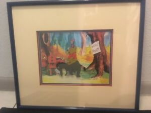 Disney Sericel Winnie the Pooh and the Blustery Day Sericel Triple Matted Framed