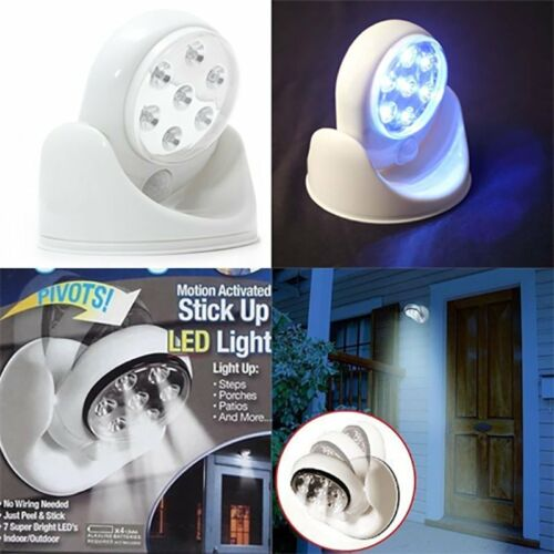 Wireless 7 LED Light PIR Motion Activated Sensor Stick Up 360° Garage Screws