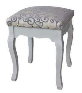 Tabouret Chaise De Bar Tissu Blanc Argente