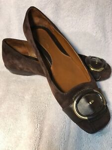 Cole-Haan-Womens-Size-7-B-Brown-Leather-Suede-Flats-Shoes-Buckles-Air-Soles