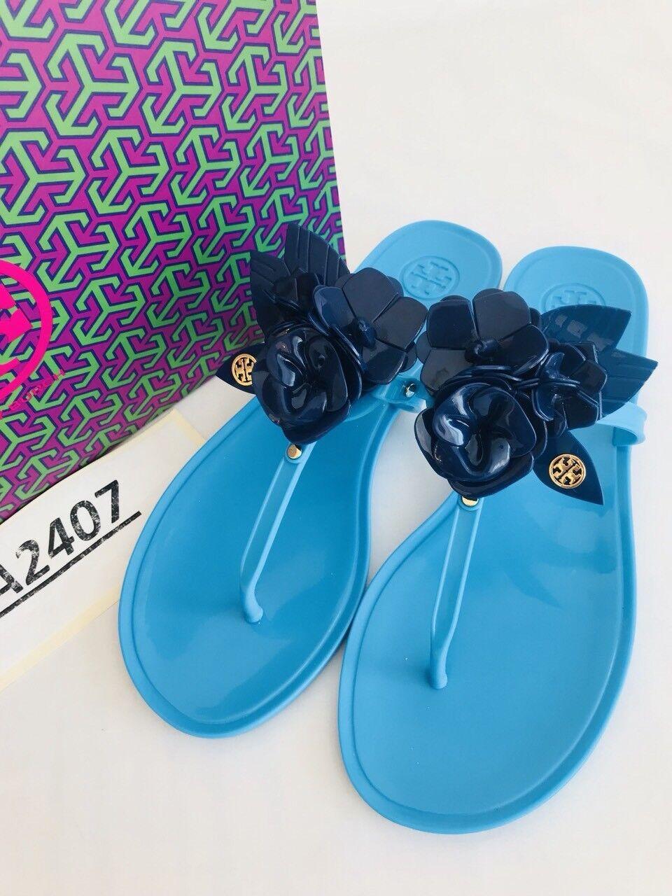 Tory Burch  NIB TwoTone Blossom Jelly Thong Sandals Brillant blu Navy Sea Sz 7  100% di contro garanzia genuina