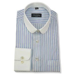 PENNY Da Uomo Colletto BANCHIERI Camicia Strisce Blu Royal collare rotondo Club Easy 2 IRON