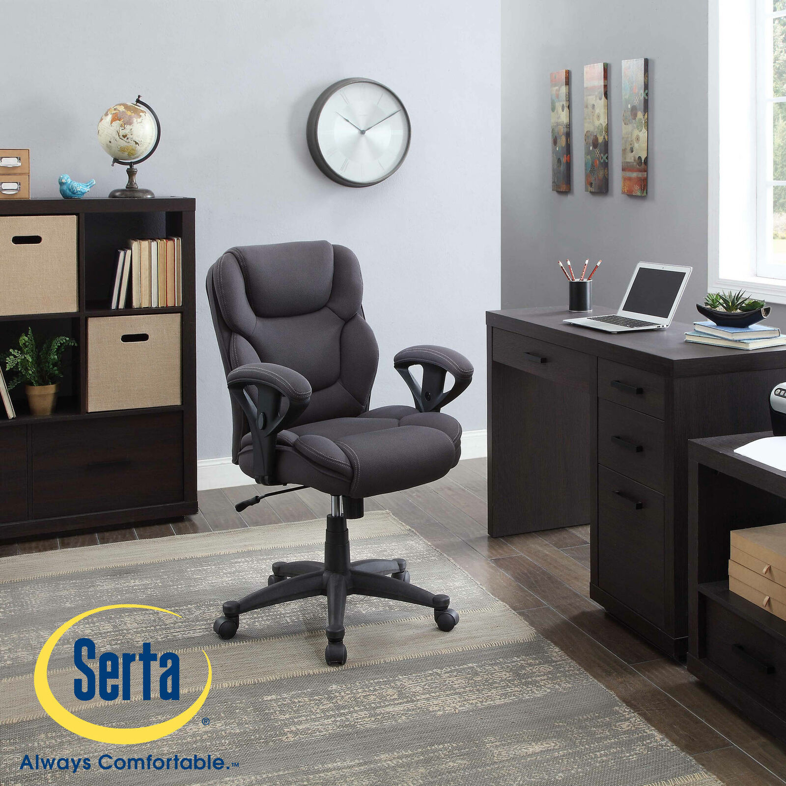 Serta Gray Mesh Fabric Big and Tall Manager Chair Computer Office Desk High  Back