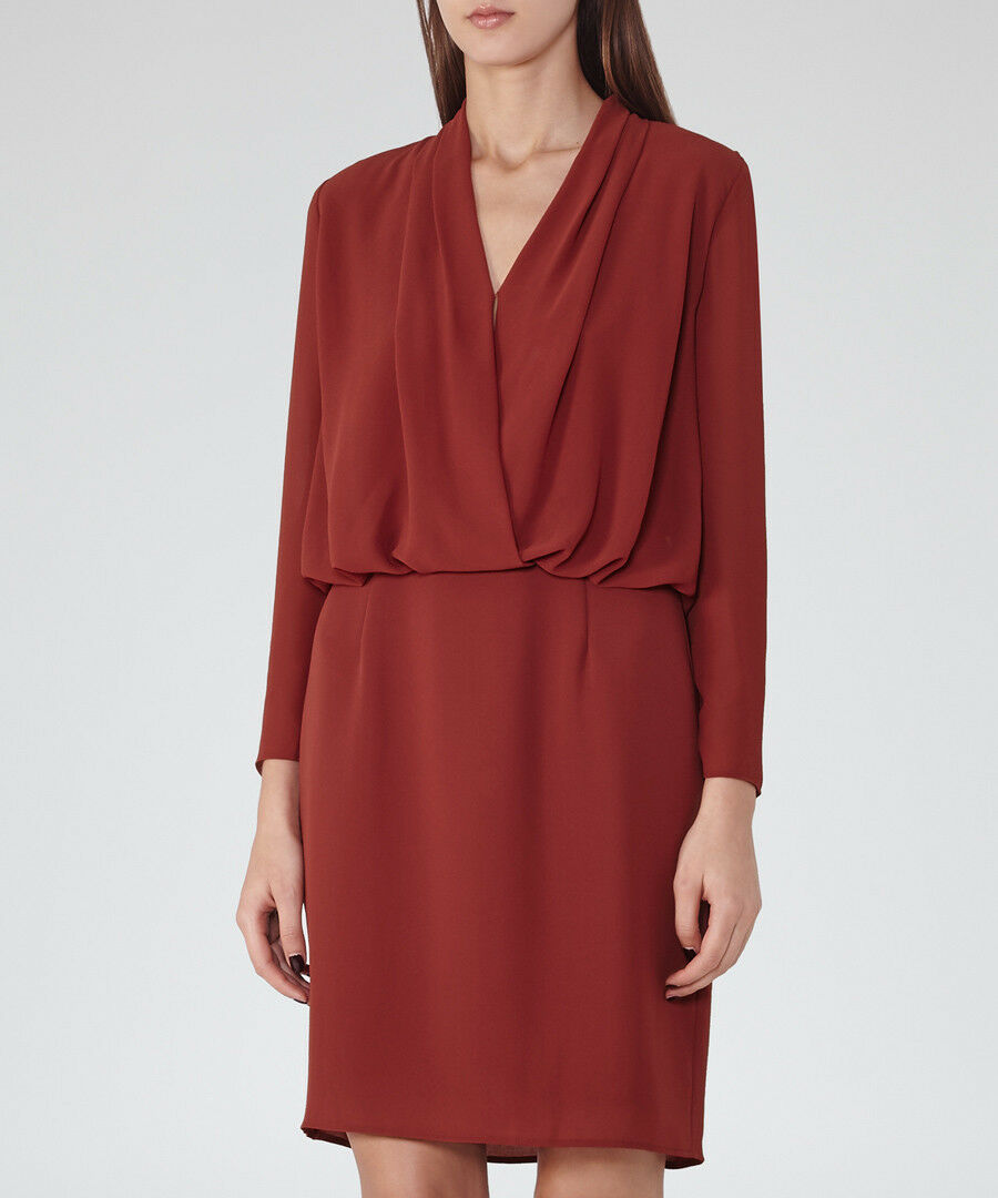 Reiss rot Blouson Long Sleeve Drape Wrap Evening Cocktail Party Dress 10 38