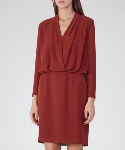 Reiss con cocktail lunghe Blouson Red 10 38 175 a £ serale drappeggio da maniche party Vestito lungo rS0rqH