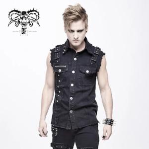 Diablo-Moda-Punk-Rave-Gotico-Goth-Rock-Metal-Sin-Mangas-Camiseta-Top
