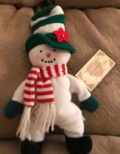 Overly Christmas.Snowman Overly Raker Inc 10 Plush Doll Nwt 1998 Christmas