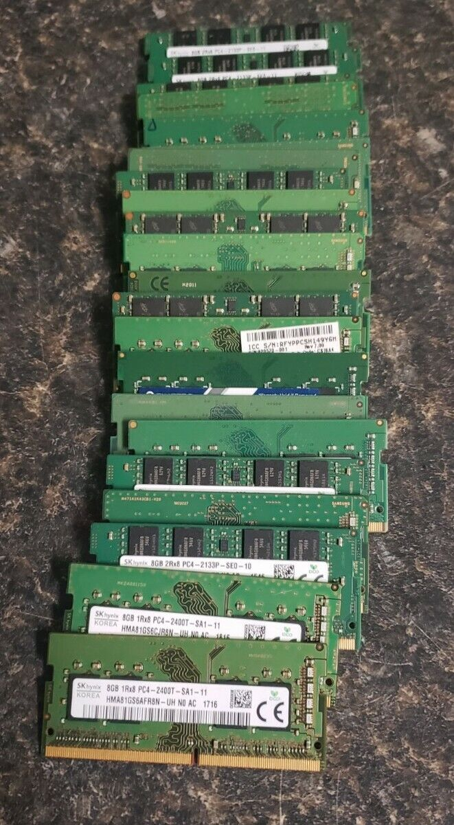 Lot of 22- 8GB PC4 - Mixed Brands, Laptop Memory. Buy it now for 530.00