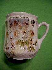Antique SHAVING MOUSTACHE CUP with vibrant white and yellow flowers. Hand paint