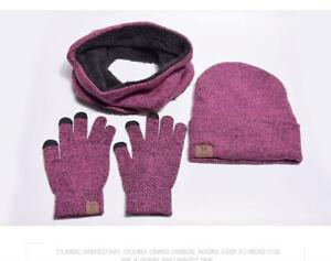 e2eee274d32 Women Winter Hat Gloves And Scarf Set Casual Beanie Warm Gloves ...