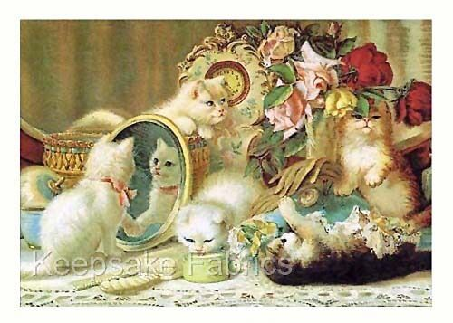 Victorian Cats At Play Quilt Block Multi Sizes FrEE ShiPPinG WoRld WiDE (C20