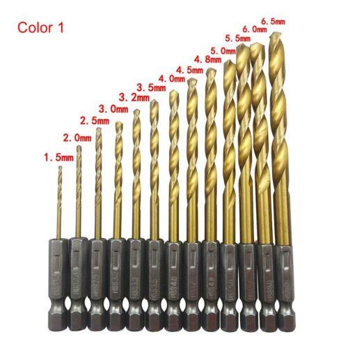 13Pcs Titanium Coated HSS Drill Set Twist Drill Hex Shank Drill 1.5mm-6.5mm Hot