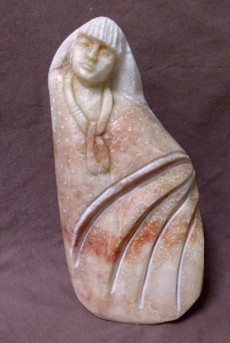 Native American Buffalo Fetish Green Alabaster Stone Carving W Turquoise Eyes