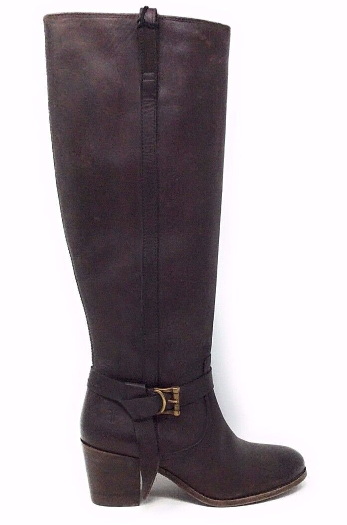 Frye Womens Malorie Knotted Tall Riding Boot Dark Brown Leather Size 5.5