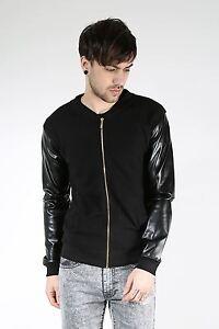 King-Kouture-Mens-Boys-WAFFLE-PU-Long-Sleeve-Zipper-Zip-Up-Pique-Bomber-Jacket
