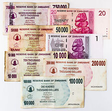 7 diff. Zimbabwe 2006-08 currency most higher values in the thousands circulated
