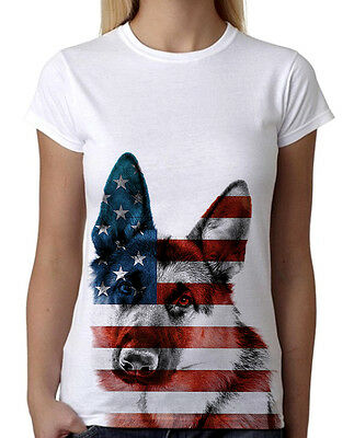 Junior/'s German Shepherd USA Flag White T-Shirt American July 4th Dog Tee B757