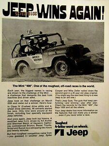 "Mint 400 Mike Zeller Spike Cooper 1972 Jeep CJ 5 Original Print Ad 8.5 x 11"""