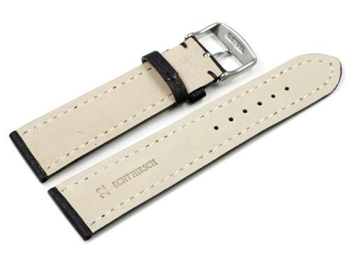 Uhrenarmband Hirschleder schwarz stark gepolstert sehr weich 18,20,22,24 mm NEU