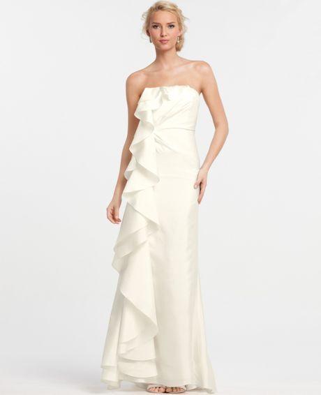3f9741fd4b083 NEW Ann Taylor Silk Dupioni Cascade Ruffle Wedding Dress Bridal Gown 12 $795