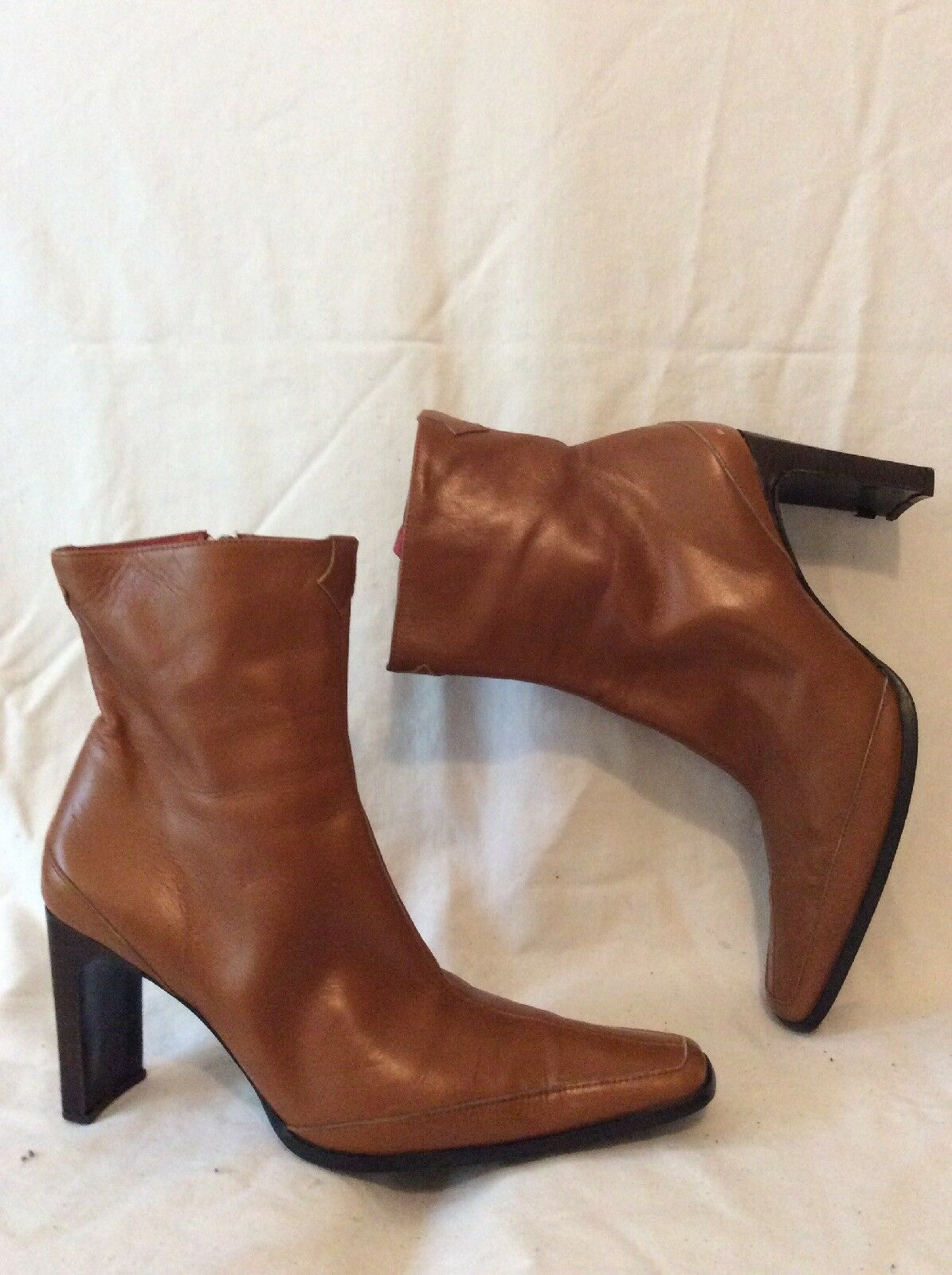 J&W By Jeffery West Brown Ankle Leather Boots Size 38