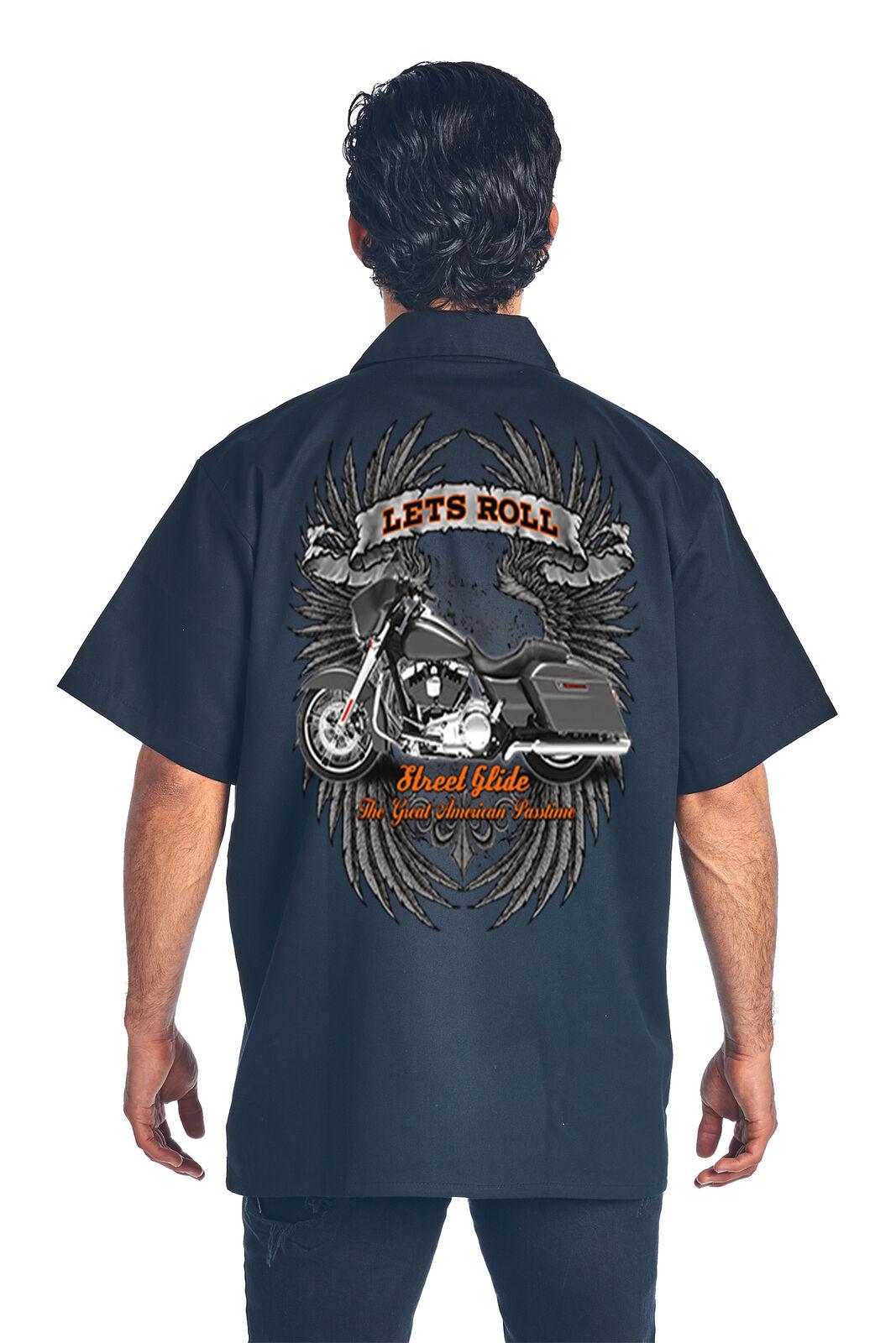 Men/'s Let/'s Roll Great American Pastime Mechanic Work Shirt
