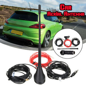 DAB-FM-AM-Car-Radio-Antenna-Aerial-Amplifier-Roof-Mount-90-ISO-to-DIN-Adapter