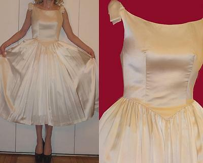 """DB Dress Black"" England 50s IVORY Silk Dress FULL Skirt Tulle Corset top Bow XS"