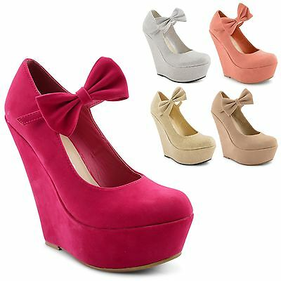 New Ladies High Wedge Heel Platform Bow Ankle Mary Jane Sandals Shoes Size