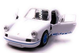 Porsche-Carrera-Rs-Voiture-Sport-Maquette-de-Auto-Bleu-Echelle-1-3-4-Licence