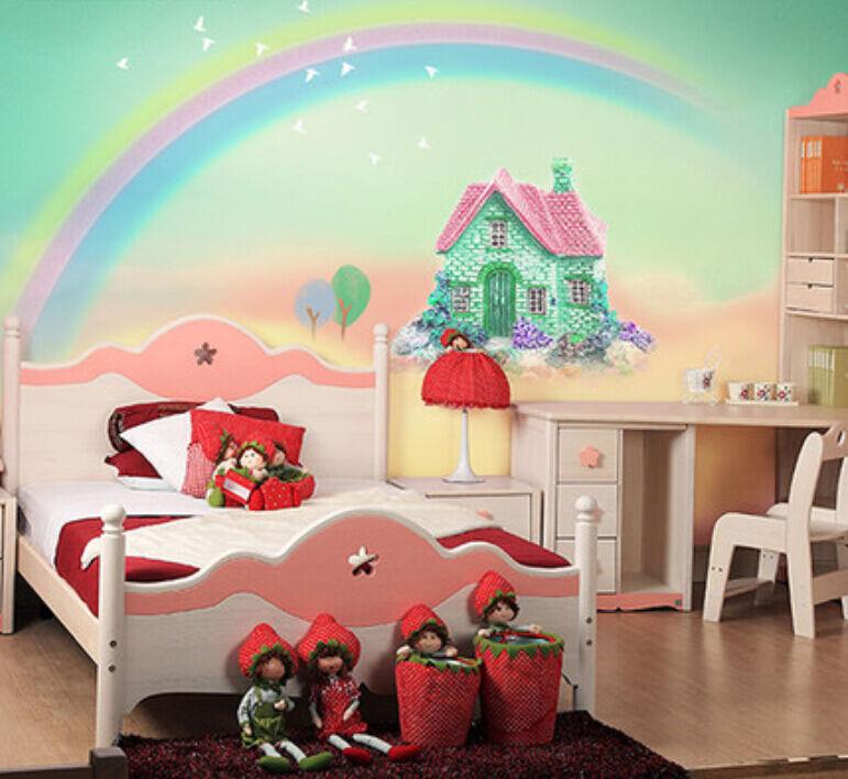 3D Die regenbogen - Haus 563 Fototapeten Wandbild Fototapete BildTapete Familie