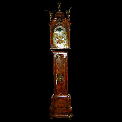 Ornate Antique 18th C. Long Case Dutch Grandfather Clock #7367