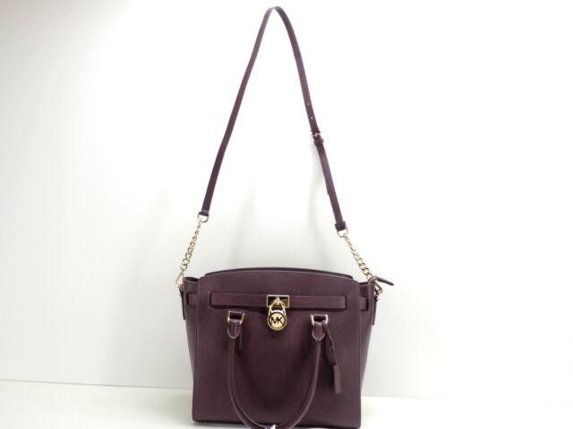 03b6cad670 Michael Kors The Hamilton Damson Leather Satchel Handbag + Strap New! NWT