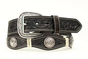 vasta selezione di 27fb4 cbb5a Dettagli su Ariat - Nero pelle ~ Fibbia D'Argento ~ Man Western Cintura-  Cowboy A10130 16