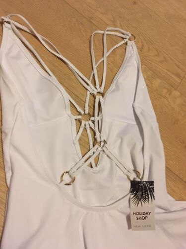 New Look White Cut Out Mesh Swimsuit Sz 10 Caged Deep Plunge BNWT NEW Marbs Hol
