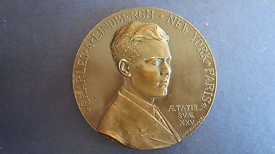 FäHig Medaille Bronze Transatlantikflug Von Lindbergh 1927, 68 Mm In Vz+ (j73)