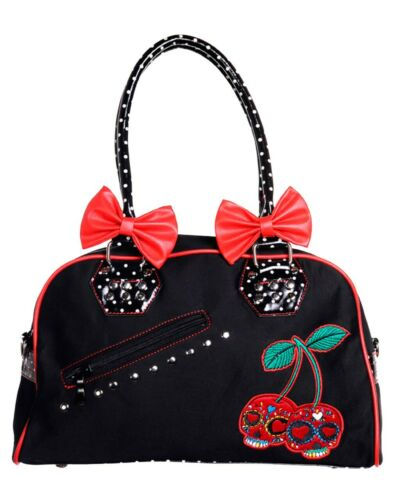 Banned Cherry Sugar Skull And Adorable Bows Polka Dots Studs Handbag Rockabilly
