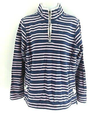 Generoso Crew Abbigliamento Da Donna Maglione Pullover 14 Strisce Blu Navy Rosa 1/4 Zip-