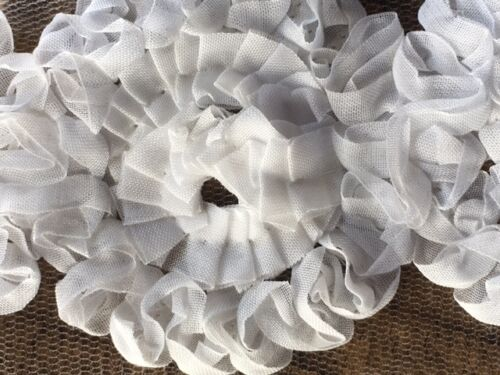 laverslace 1 METRE White Satin Chiffon Flowers Vintage Shabby Chic Wedding